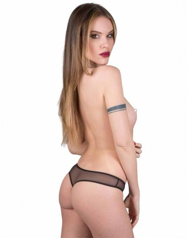2822 crotchless band thong lether-look back